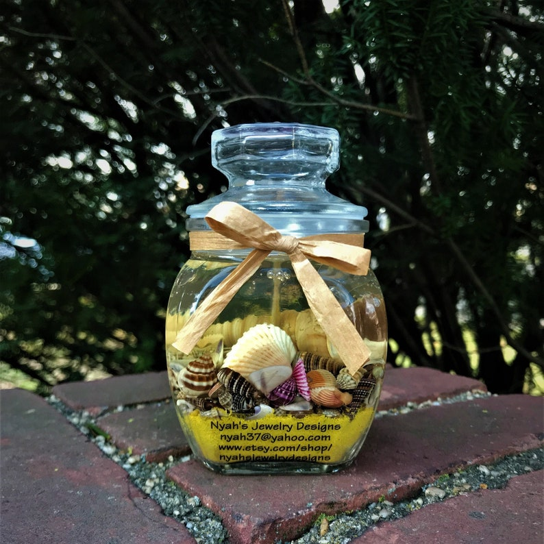 Beach Housewarming Gift Natural Seashell Scented Candles in Apothecary Jars Yellow Sand Coastal Candle Ocean Candle Hostess Gift