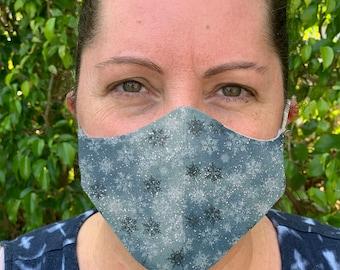 Snowflake face mask, Womens Glitter Face Mask, Reusable Face mask, Cotton Face Mask, Washable Face mask, Adult Face mask, Mens face mask
