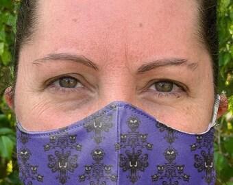 Haunted Mansion Face Mask, Adult Face Mask, Adjustable Face mask, Kids Mask, Washable mask, Cloth Face mask, face mask