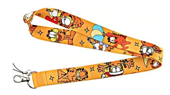 Garfield The Lazy Cat Themed Id Holder Lanyard Keychain Etsy