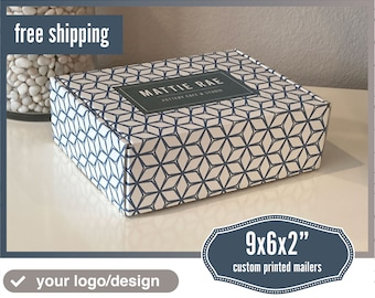 Personalized 9x6x2 Inch Sturdy Packaging Box | Your Logo / Artwork in Vibrant Colors | Pack of 25 Mailers | We will help you with the design