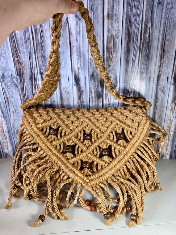 Vintage 1960 Jute Handmade Macrame Bag, Vintage Wo