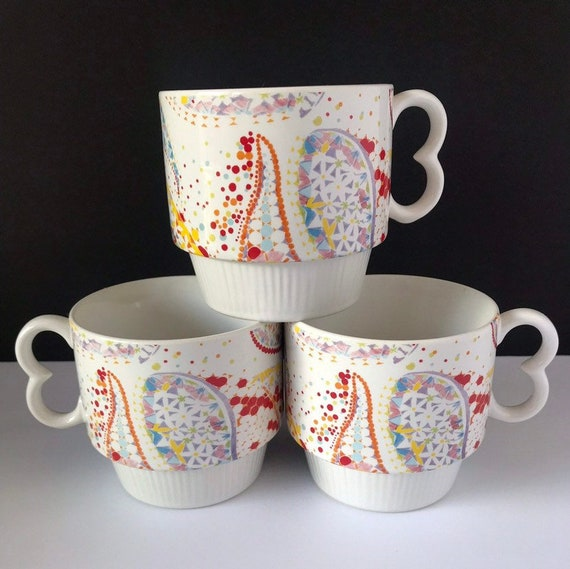 Vintage Anthropologie Paisley Boho Stackable Coffee Mugs Etsy