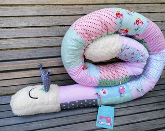 Storage pillow snail for babies, bed roll bed snake bed snail, girl, pink, name embroidered optional, color/pattern individual