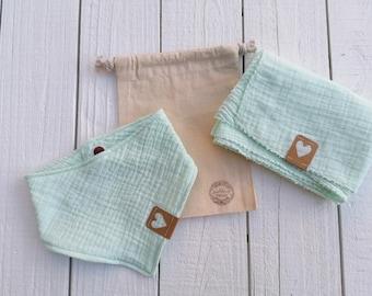 Set muslin for babies in gift bag, bib, sabber towel, cuddly towel, musteline, mint, label heart