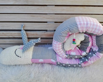 Storage pillow Schnecki for babies, bed roll bed snake bed snail, girl, pink, name large letters, color/pattern individual
