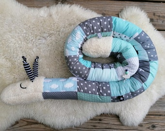 Storage pillow snail for babies, bed roll bed snake bed snail, boy, blue, name embroidered optional, color/pattern individual