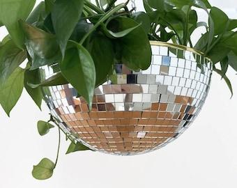 Disco Planter, Disco Ball Planter, Disco Party Hanging Planter,Hanging Wall Planter,Mirror Ball Plant Hanger,Hanging Plant Stand,Disco Decor