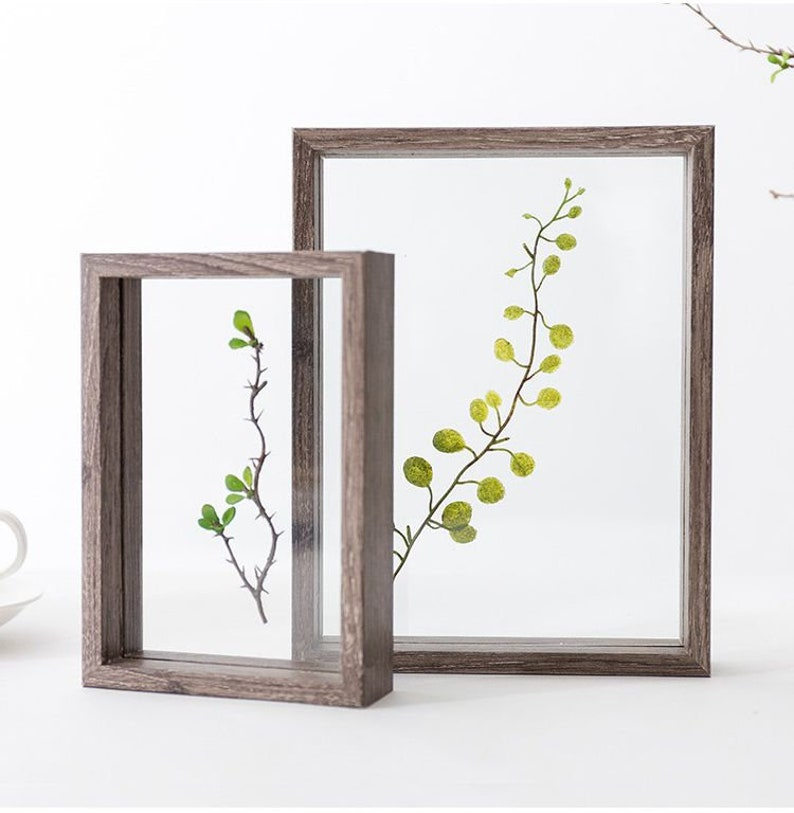 Herbarium Frame for Pressed Flower Art Wood Frame for Dried Flowers,Double Glass Photo Frame for Botanical Art,Pressed Flowers,Wall Hanging
