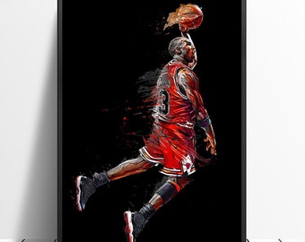 994b1993faeeb4 Abstract Art Painting Michael Jordan Poster Fly Dunk Basketball Wall  Pictures for Living Room Decoration Bedroom Sport Canvas Print No frame