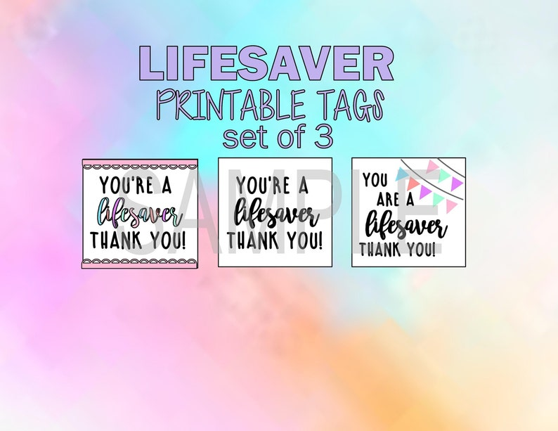 photo regarding You're a Lifesaver Printable identified as thank by yourself take note, reward tag--Youre a \