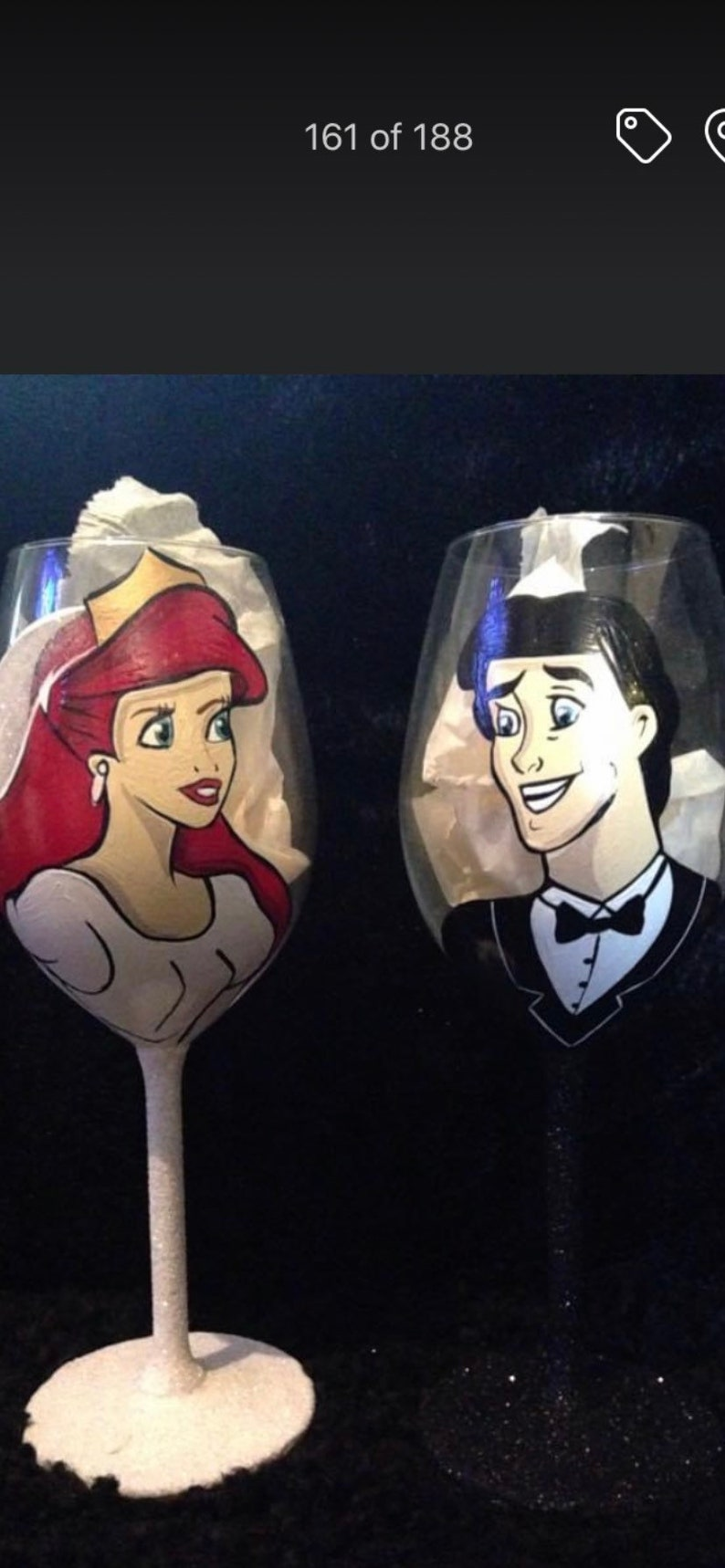Wedding Ariel and Eric hand painted wine glasses