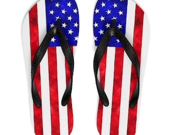 f8f21af176b3 Independence Day, 4th of July, America, USA, Unisex Flip Flops, flag flip  flops, american flip flops, womens shoes, teen shoes, mens shoes