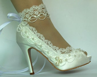 3ecefa299dc7 Lady Lace flower shoes, Pearls Bride Shoes, Ankel Ribbon Ivory lace Wedding  Shoes Bridal high Heel satin shoes peep-toe US SIZE 5.5-US 10