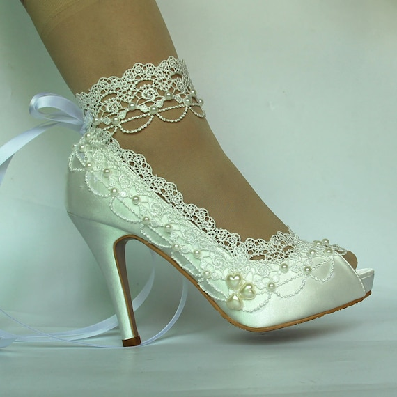 Wedding Heels For Bride Ivory Wedding Shoes Ankel Ribbon Etsy