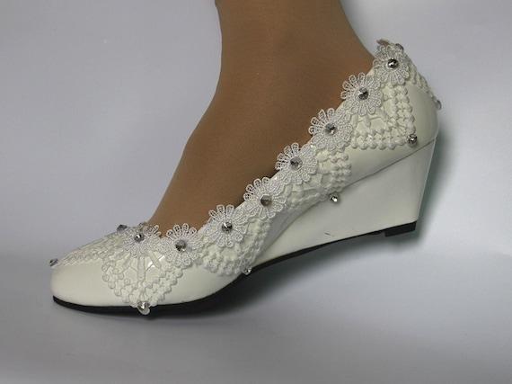 Lace Lady Shoes White Lace Shoes Wedding Shoes Bridal Wedges Etsy