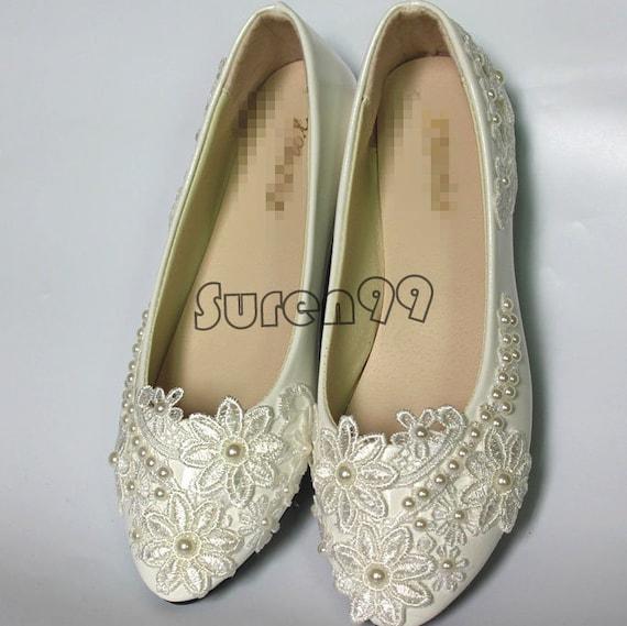 Flat wedding shoes women bridal shoes