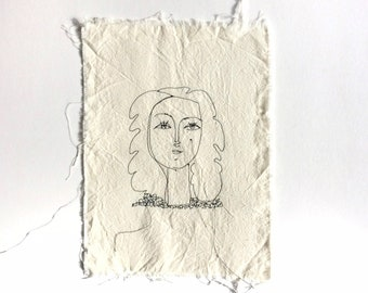 Thread drawing - Picasso line drawing - Francoise Gilot - lithograph