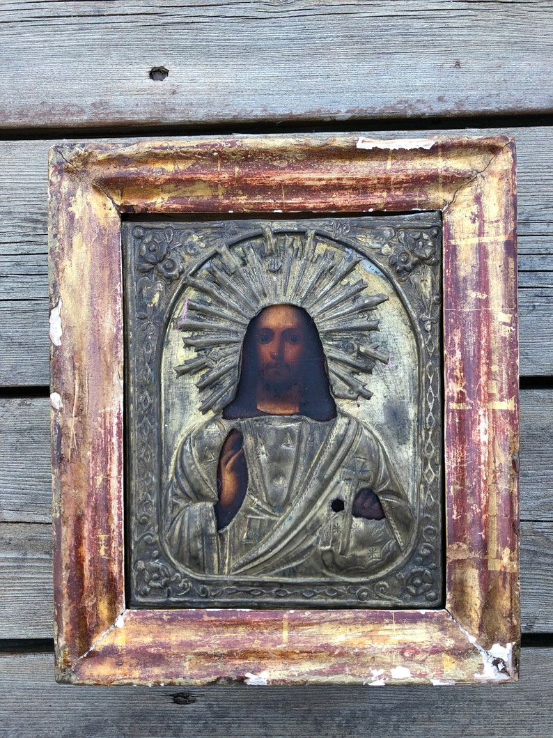 oklad Russian Orthodox Icon The Lord Almighty Handpainted in metal riza