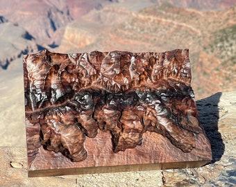 Grand Canyon South Rim topographic map wood carved walnut Rim2Rim Rim-to-Rim South Rim Bright Angel Kaibab hiker runner RIM2RIM2RIM