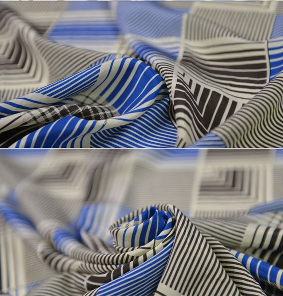 """Cobalt Blue Snakeskin 54/"""" by the yard Crepe de Chine Fabric"""