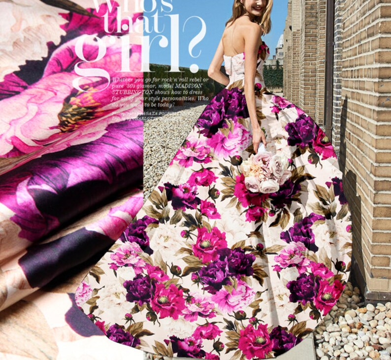 43 Inch wide Magenta silk satin Fabric for Craft Decor Wedding dress