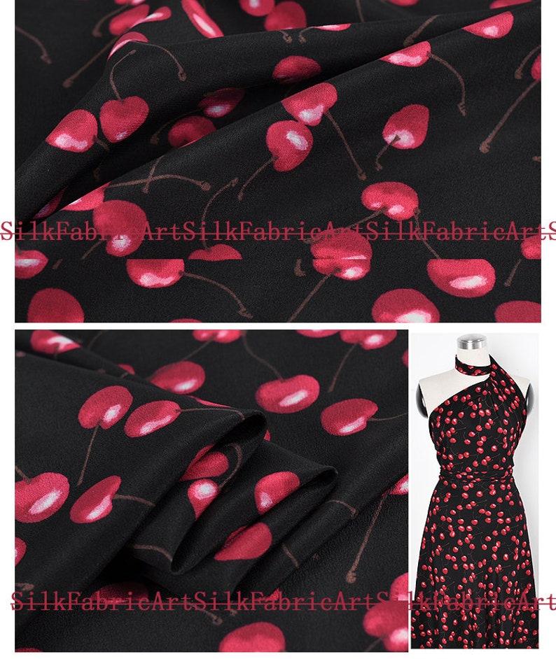 Red cherry print black fashion new fabric 100/% Silk Crepe de Chine fabric Width 43 inch