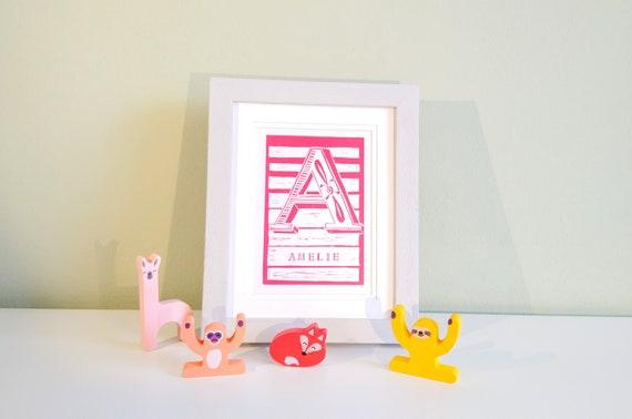 Baby Christening Birthday Boy Girl Personalised Nursery Name Print Toddler