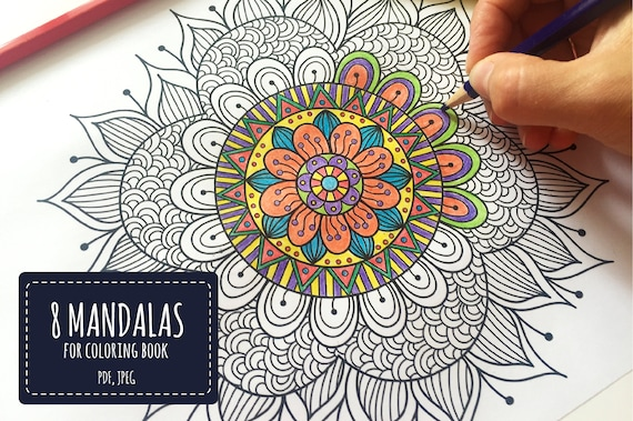 8 Mandalas Art Therapy Printable Coloring Pages Floral Etsy