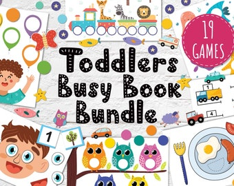Busy Book Bundle for Toddlers, Printable Busy Bag Pdf, Baby Quiet Book Pages, Preschool Activity Book, Color Matching Games for Kids