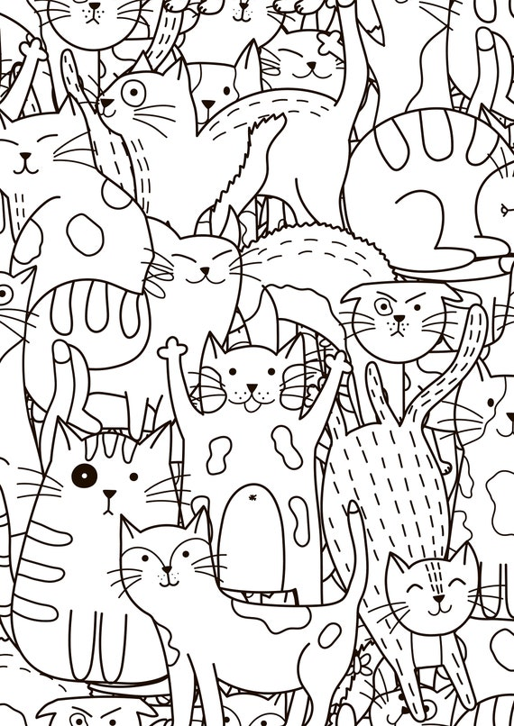 Coloring Page With Doodle Cats Printable Coloring Page For Etsy