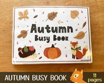 Autumn Busy Book, Toddler Busy Book Printable, Quiet Book Pdf, Autumn Learning Binder, Preschool Activity Book Busy Binder File Folder Games