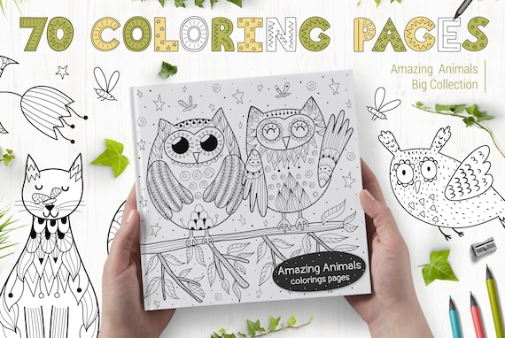 - 70 Coloring Pages With Amazing Animals / Printable Coloring Etsy