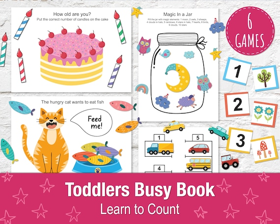 Learn to Count Busy Book for Toddlers A4  6 Printable Games