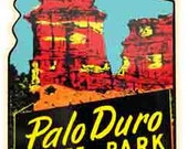 Vintage 1950 39 s style Palo Duro TX Texas State Park retro travel decal sticker state map