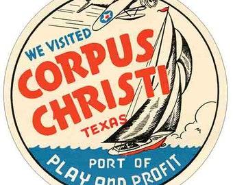 Vintage Corpus Christi Port of Play and Profit Souvenir Pennant