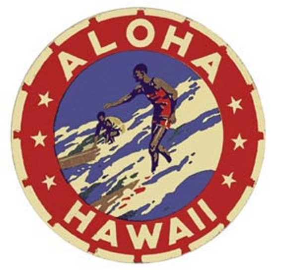 Hawaiian Islands  Map    Vintage 1950/'s-Style   Travel Decal//Sticker