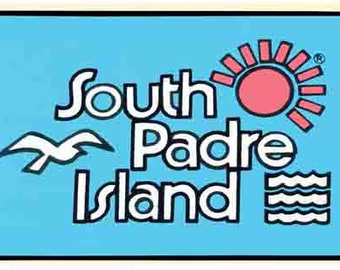 Vintage  1960's style  South Padre Island Texas Beach   retro  travel decal  sticker state map