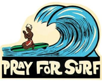 Vintage  1950's style  Pray For Surf  Surfing Surfer      retro  travel decal  sticker
