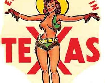 Vintage  1950's style  Texas  pin-up girl    Dallas Houston Austin El Paso    retro  travel decal  sticker state map
