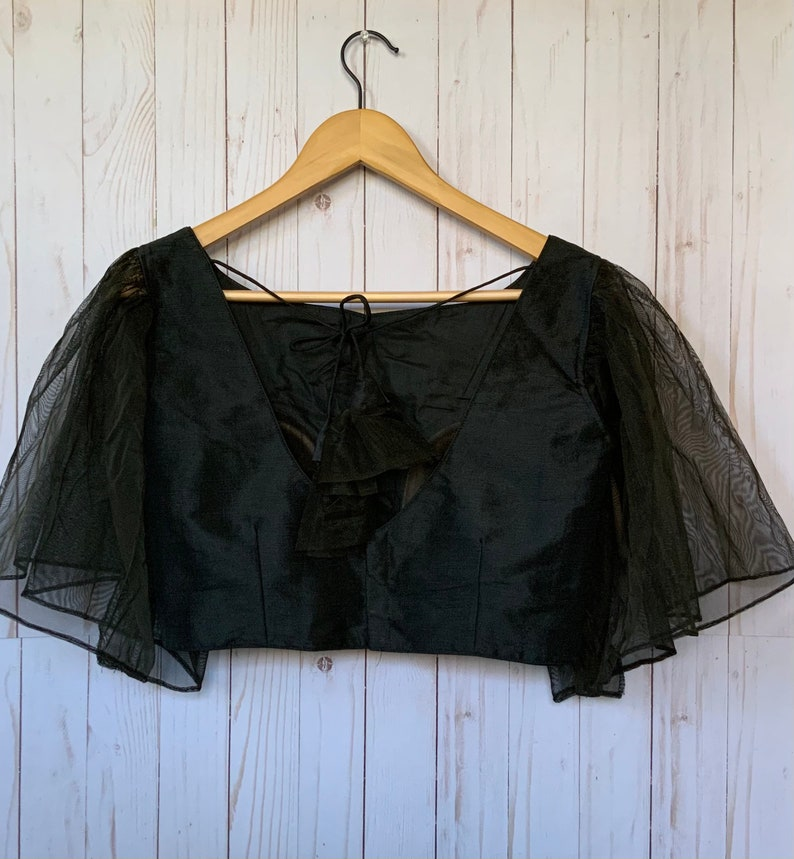 Readymade Modern Flutter Sleeve Blouse for Indian SareeSari in Black in size 34