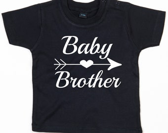 Baby T-Shirt mit Druck, Baby Brother, Herz und Pfeil, Geschenkidee, Geschenktipp, Design 2, Bio Baumwolle,