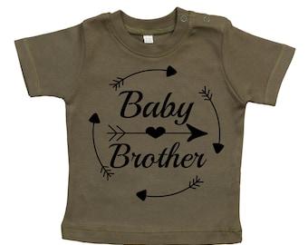 Baby T-Shirt mit Druck, Baby Brother, Herz und Pfeil, Geschenkidee, Geschenktipp, Design 3, Bio Baumwolle,