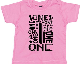 Birthday T-Shirt,1st Birthday, Kids, 1 Year, Word and Number, Birthday Gift, Girl,