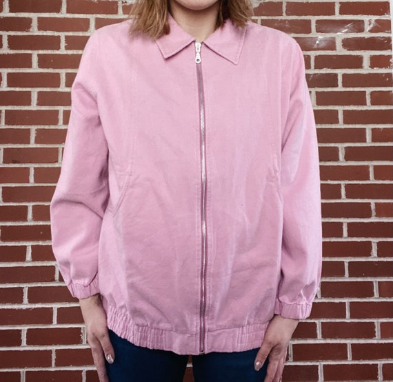 Vintage 80s 90s Blair pink cotton bomber jacket |