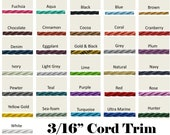 3 16 quot Cord Trim by the yard - 31 Colors
