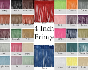 4-inch Fringe Trims by the yard - 32 Colors