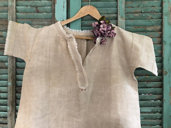 ANTIQUE FRENCH NIGHTSHIRT Linen Chemise