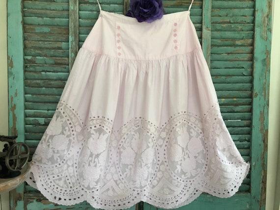 VINTAGE EMBROIDERED PRAIRIE Style Petticoat Skirt