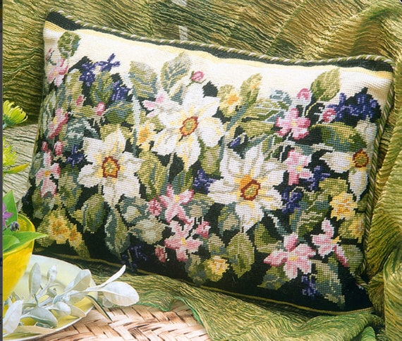 Completed Needlepoint Canvas Mid Century Vivid Needlepoint For Pillow Floral Needlepoint Pillow Footstool Chair Upholstery  Free Ship